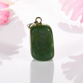 Кулон нефрит зеленый Россия галтовка 2,5-3 см