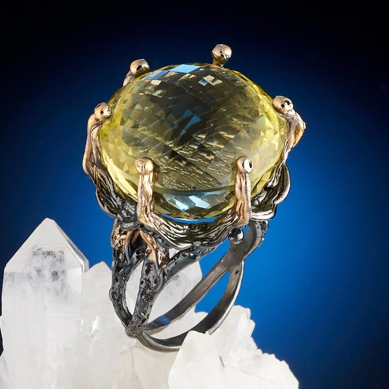 Кольцо цитрин огранка (серебро 925 пр., позолота) размер 18,5 цена