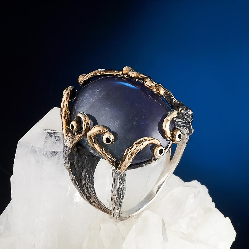 Кольцо танзанит (серебро 925 пр., позолота) размер 17