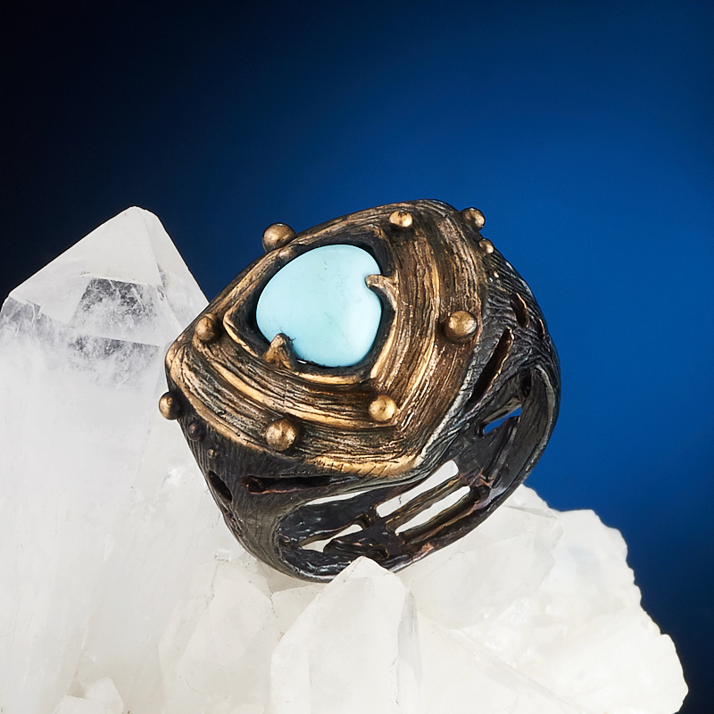 Кольцо бирюза (серебро 925 пр., позолота) размер 16 машинка для стрижки волос panasonic er217 серый чёрный er217 s520