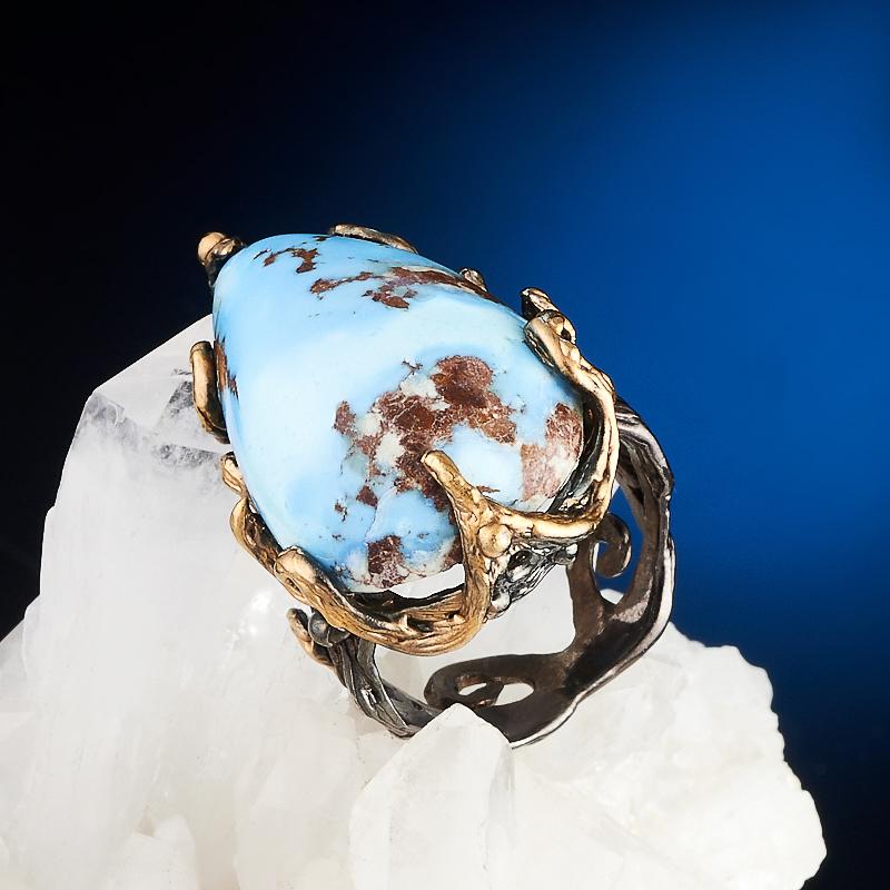 Кольцо бирюза  (серебро 925 пр., позолота) размер 15,5