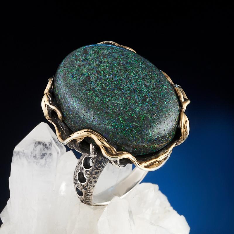 Кольцо опал благородный черный (серебро 925 пр., позолота) размер 19 семена баклажан черный опал 0 25гр