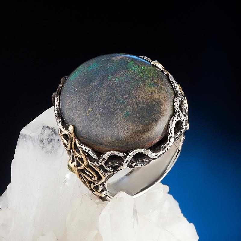 Кольцо опал благородный черный (серебро 925 пр., позолота) размер 18,5 семена баклажан черный опал 0 25гр