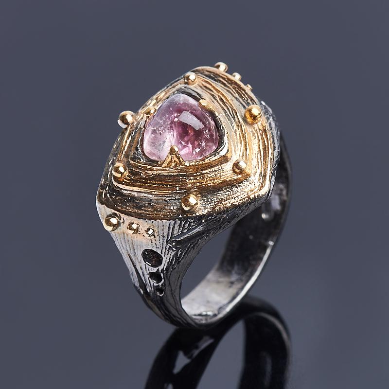 Кольцо турмалин розовый (рубеллит) Бразилия (серебро 925 пр., позолота) размер 17,5