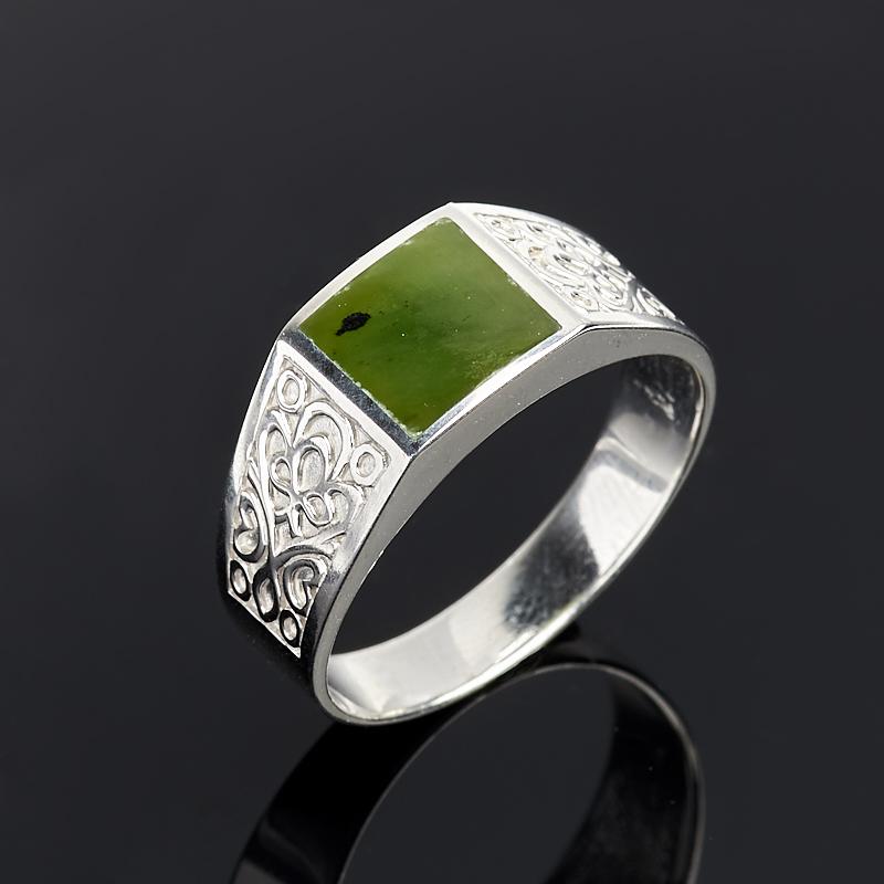 Кольцо нефрит зеленый (серебро 925 пр.) размер 21