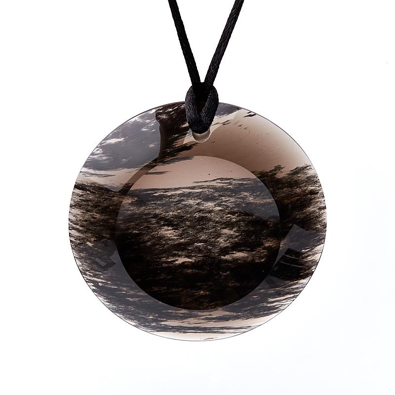 Кулон обсидиан прозрачный круг 6 см