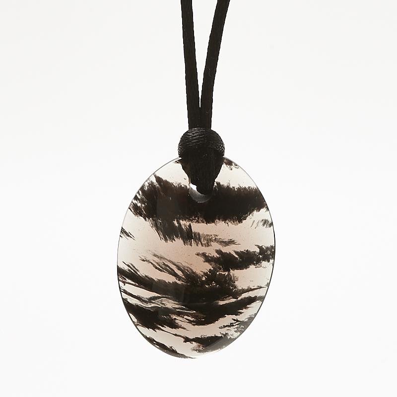 Кулон обсидиан черный  овал 2,8х4 см