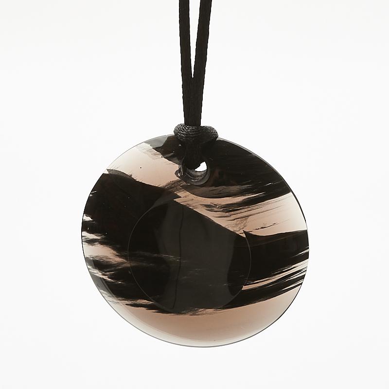 Кулон обсидиан черный круг 4 см кулон кристалл обсидиан снежный 4 см