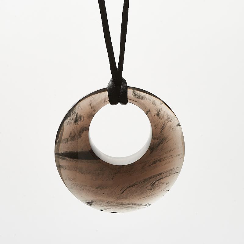 Кулон обсидиан черный круг 5 см цена