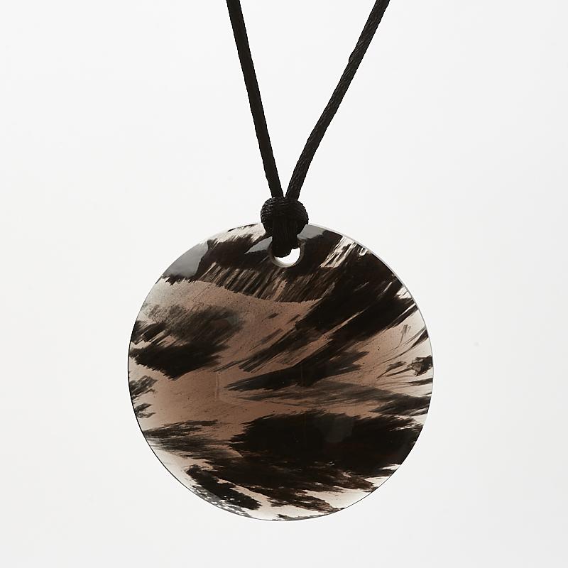 Кулон обсидиан черный  круг 5 см
