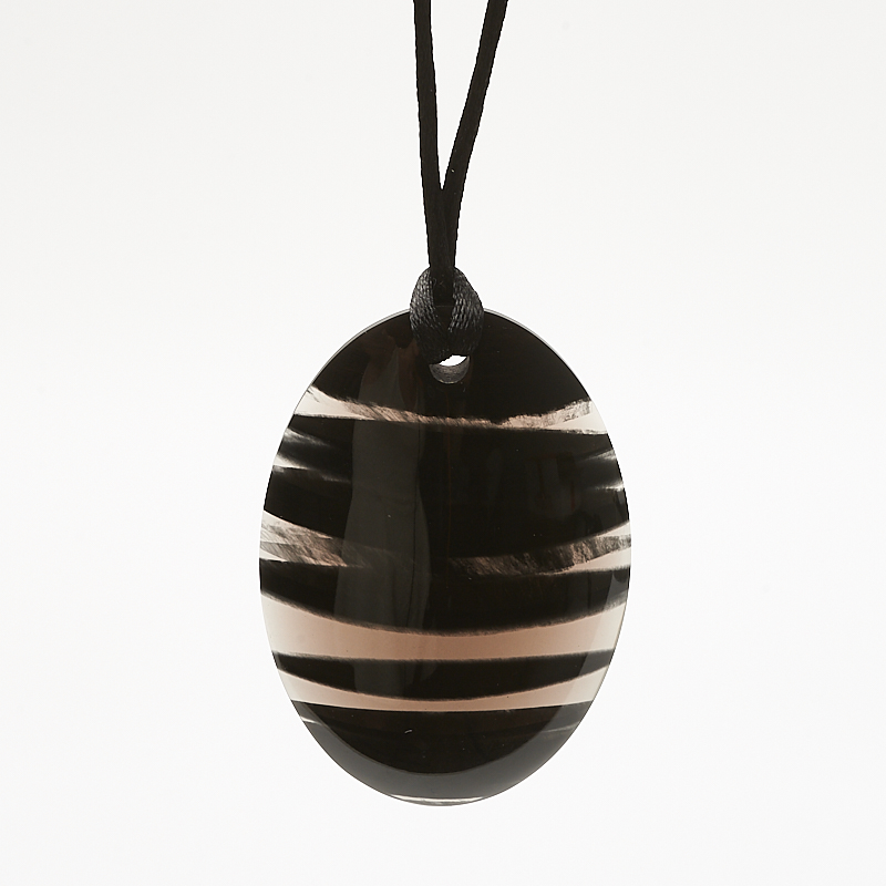 Кулон обсидиан черный  овал 4х6 см