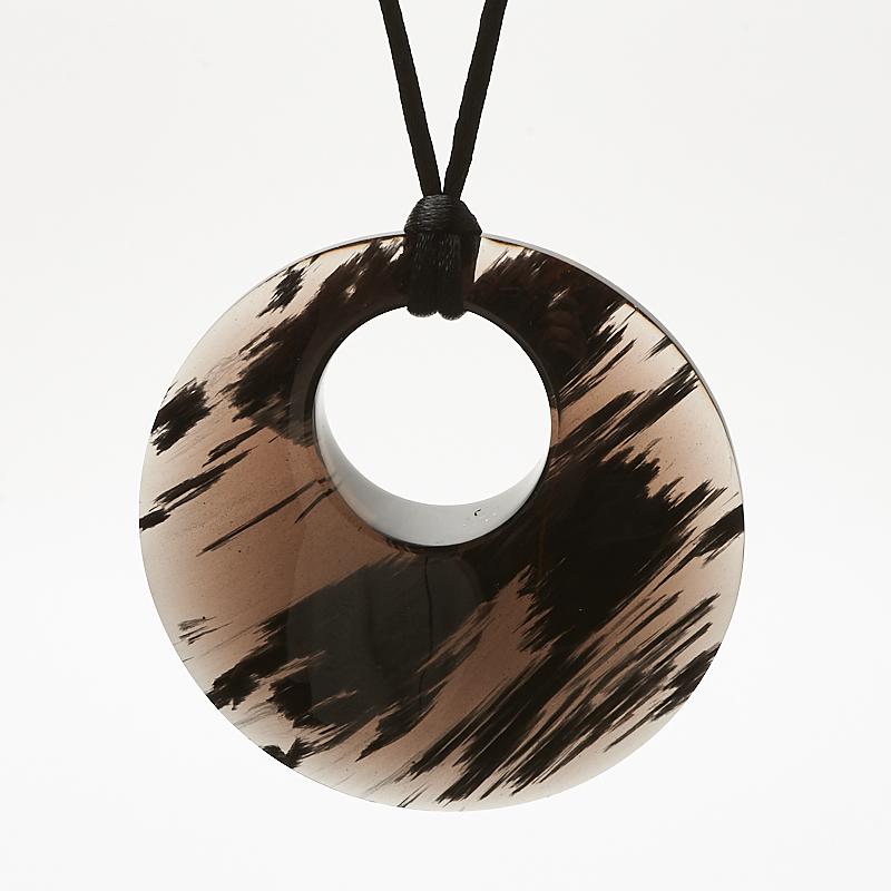 Кулон обсидиан черный  круг 6 см