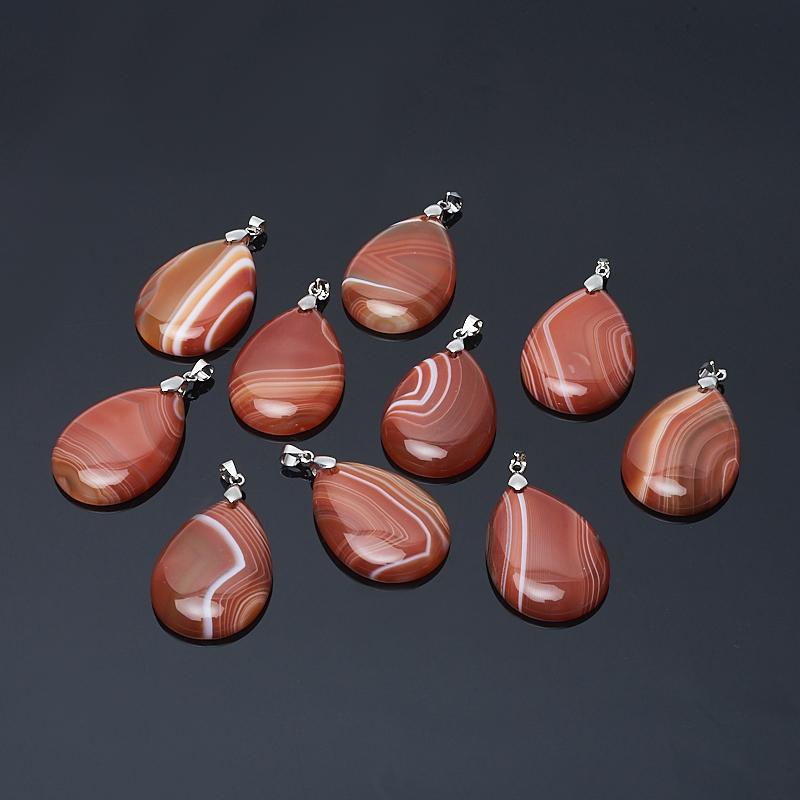 Кулон агат красный Бразилия (биж. сплав) капля 4,5-5 см
