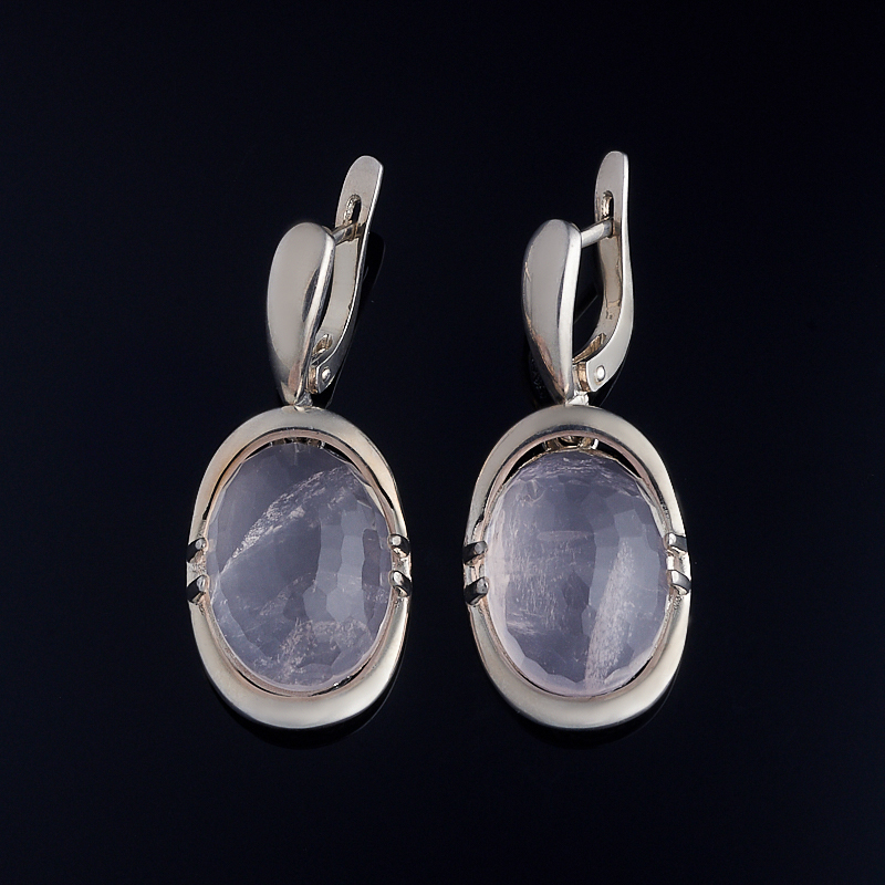 Серьги розовый кварц огранка (серебро 925 пр.) серьги агат серый серебро 925 пр