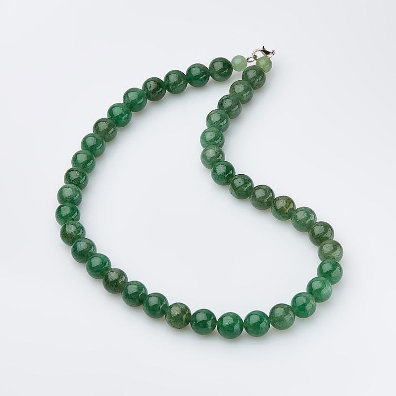 Бусы авантюрин зеленый 12 мм 48 см (биж. сплав)