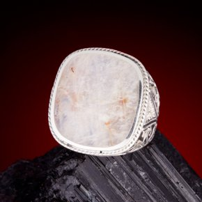 Кольцо лунный камень (беломорит) Россия (серебро)  размер 19
