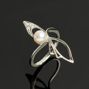 Кольцо жемчуг белый (серебро 925 пр.) размер 15