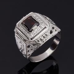 Кольцо гранат альмандин Индия огранка (серебро 925 пр. родир. бел.) размер 21