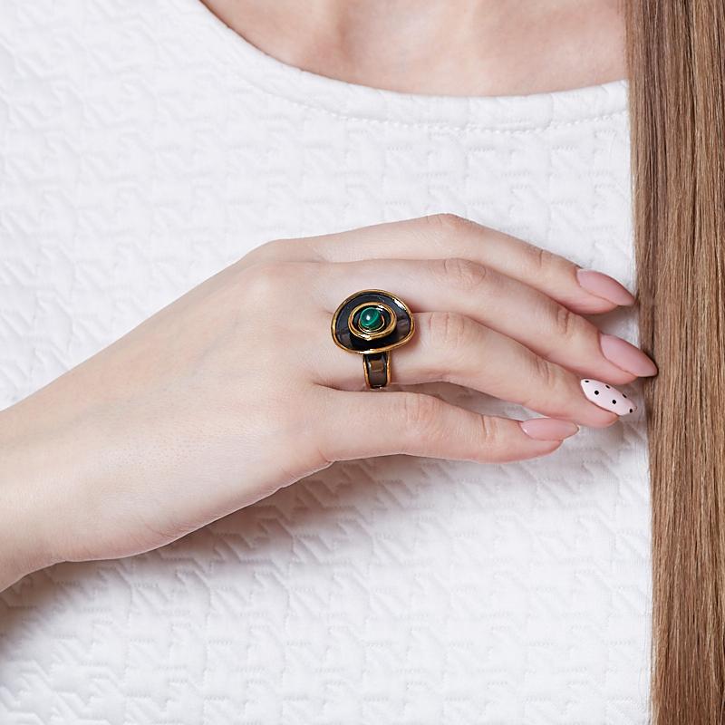 Кольцо малахит Конго (серебро 925 пр., позолота) размер 17,5