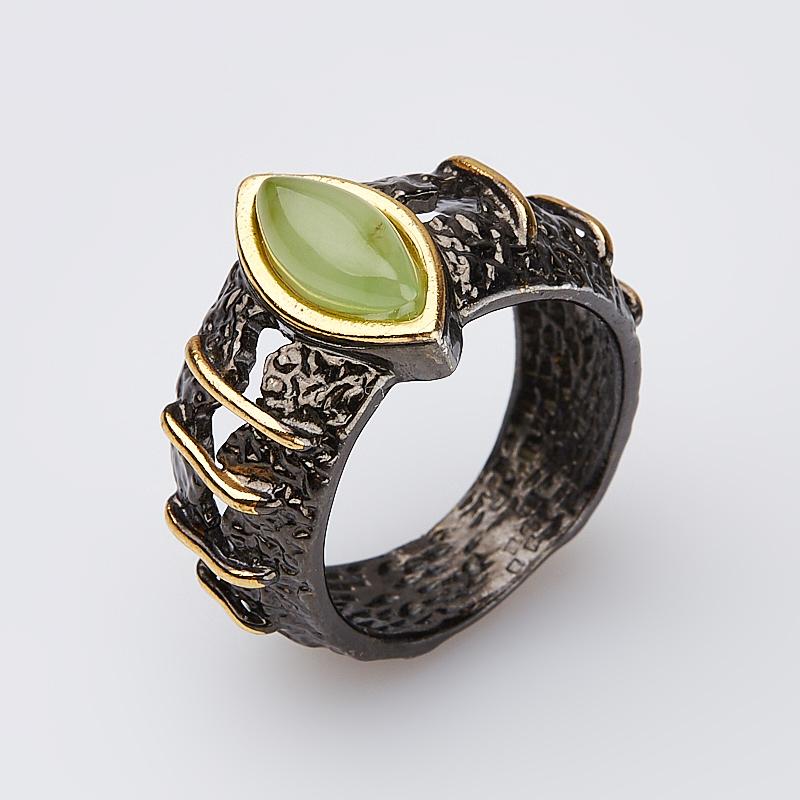 Кольцо нефрит зеленый Россия (серебро 925 пр., позолота) размер 16