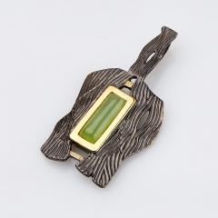 Кулон нефрит зеленый Россия (серебро 925 пр., позолота)