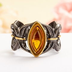 Кольцо янтарь Россия (серебро 925 пр., позолота) размер 16,5