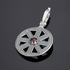 Кулон гранат альмандин Индия круг (серебро 925 пр.)
