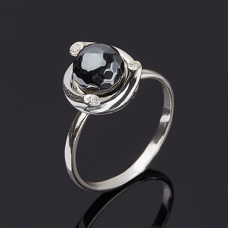 Кольцо гематит Бразилия огранка (серебро 925 пр.) размер 14,5