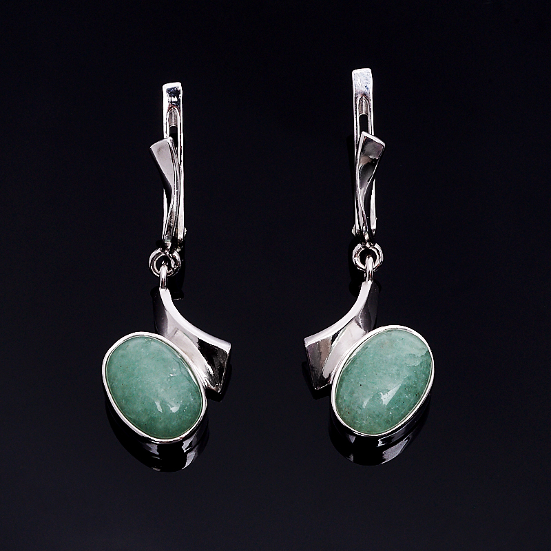 Серьги авантюрин зеленый (серебро 925 пр.)
