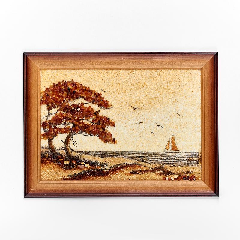 Картина Море янтарь 21х30 см искусство витража витражная картина море