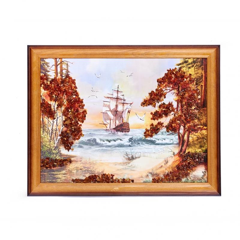 Картина Море янтарь 30х40 см искусство витража витражная картина море