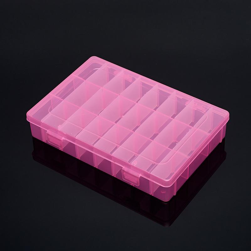 Коробка для коллекции камней (24 ячейки) (розовый) (пластик)