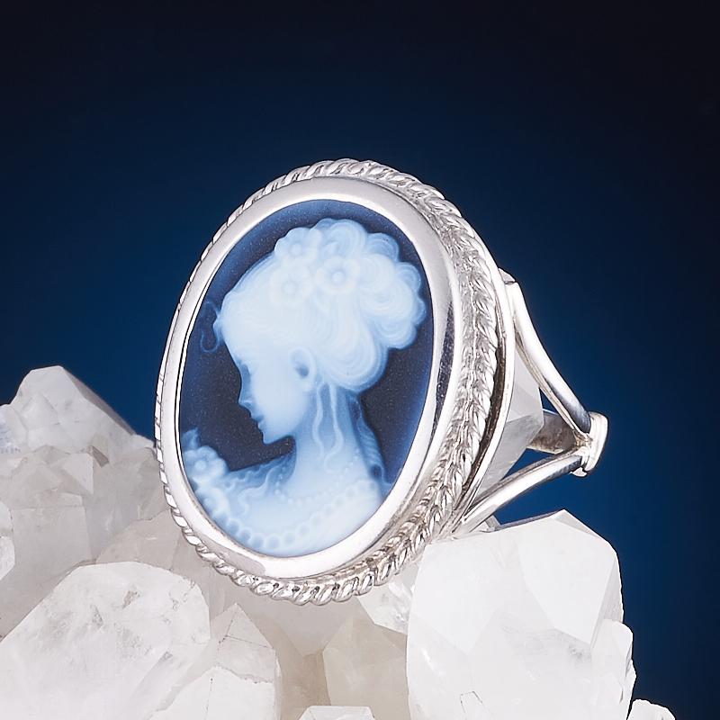 Кольцо Камея агат черный (серебро 925 пр.) размер 18