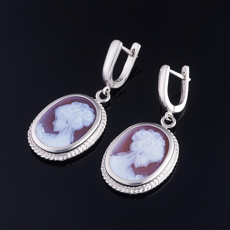Серьги Камея агат красный (серебро 925 пр.) цена
