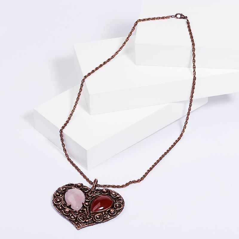 Кулон розовый кварц, сердолик сердечко (биж. сплав) 6,5 см кулон агат красный сердечко биж сплав 3 5 см
