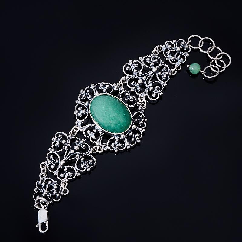 Браслет авантюрин зеленый 15-18 см (серебро 925 пр.)