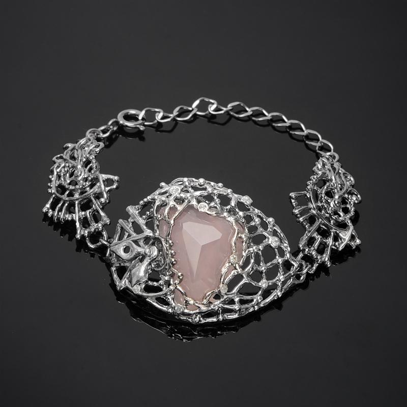 Браслет розовый кварц огранка 19 см (серебро 925 пр., позолота)