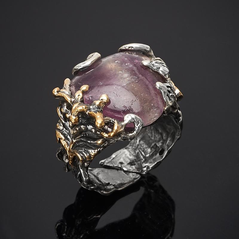 Кольцо флюорит (серебро 925 пр., позолота) размер 17 цены