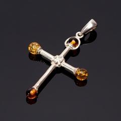 Кулон янтарь Россия крест (латунь посеребр.) 4,5 см