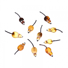 Денежный талисман янтарь Россия (мышь кошельковая) 3,5-4,5 см