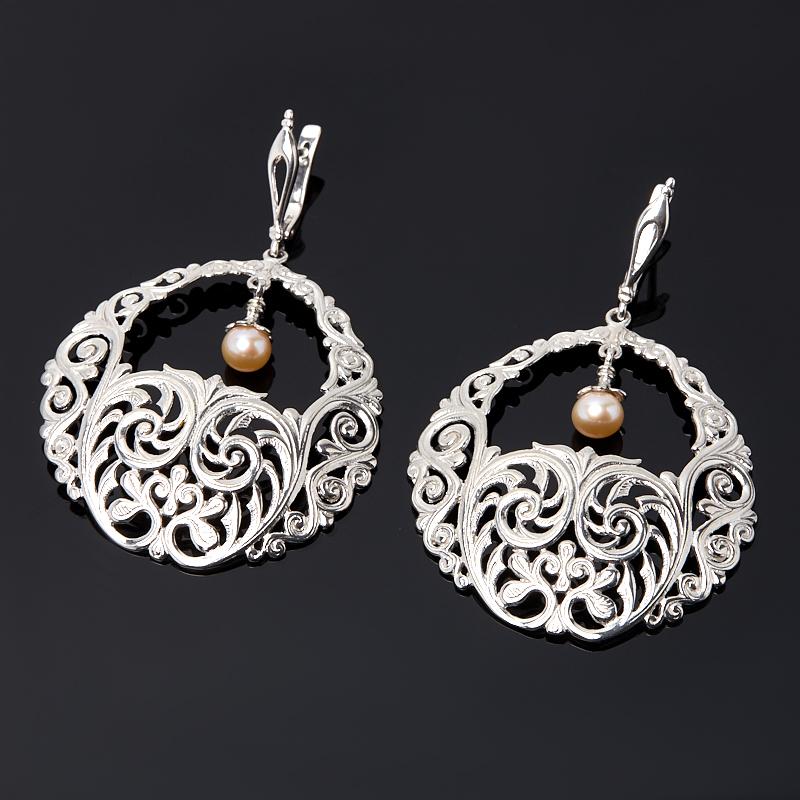 Серьги жемчуг белый (серебро 925 пр.) цена