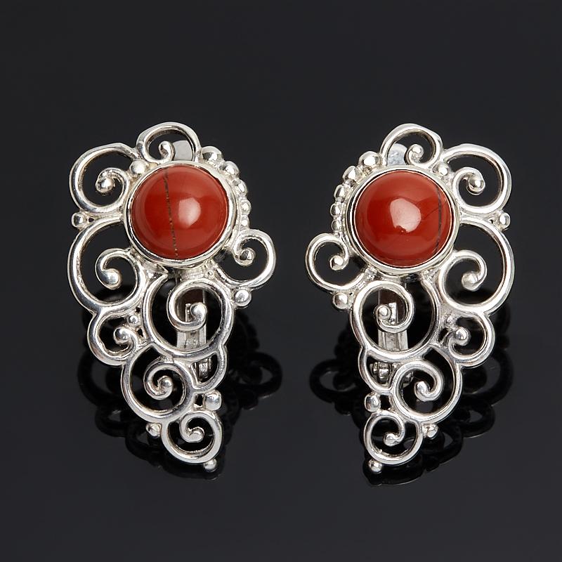 Серьги яшма красная (серебро 925 пр.)