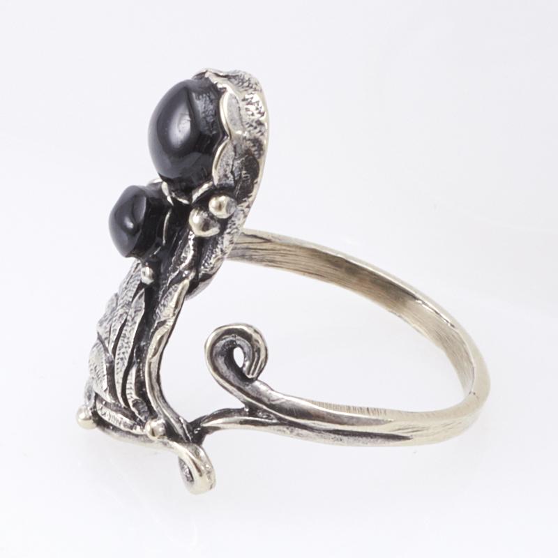 Кольцо гагат Грузия (мельхиор) размер 17,5