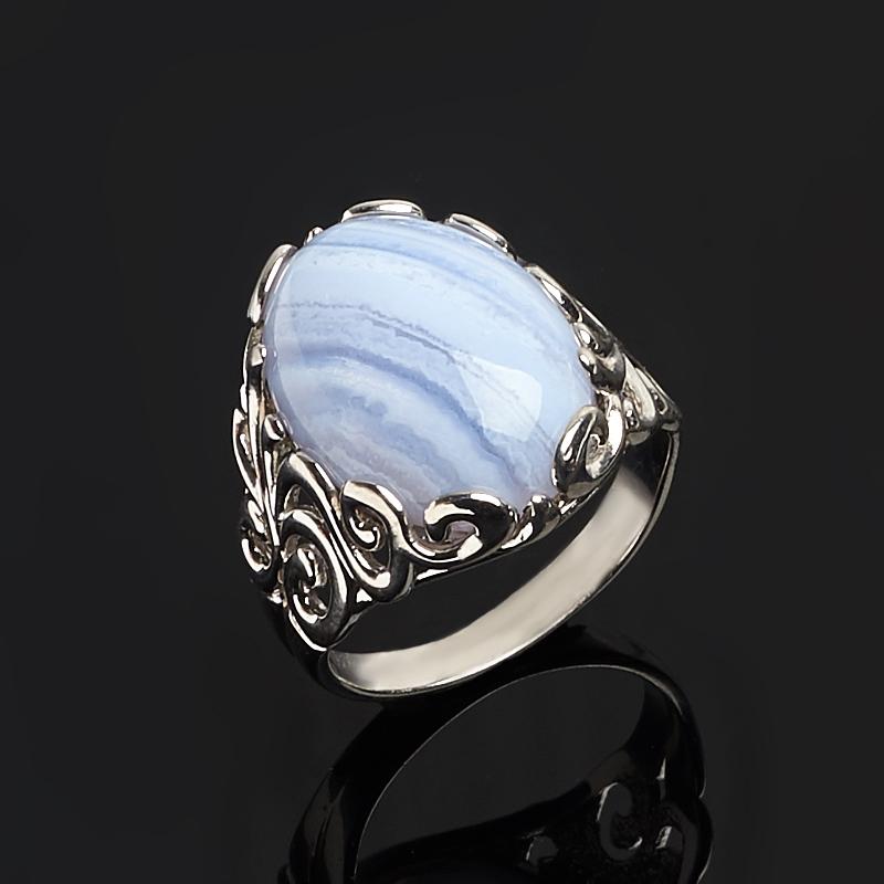 Кольцо агат голубой (серебро 925 пр.) размер 19
