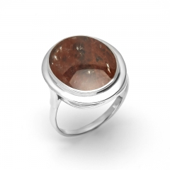 Кольцо обсидиан коричневый Армения (серебро 925 пр. родир. бел.) размер 17