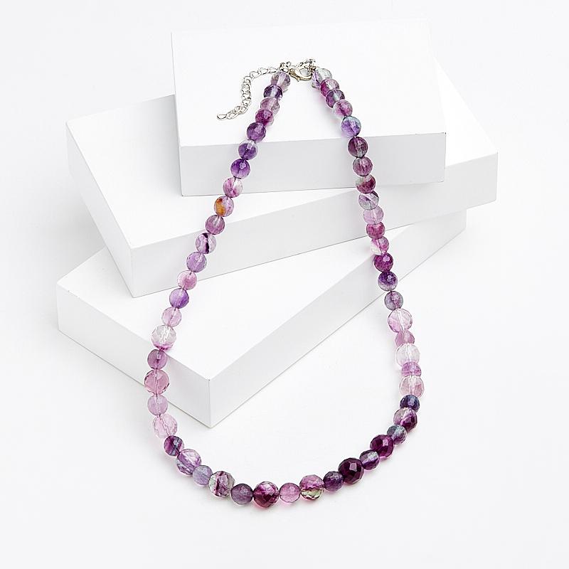 Бусы флюорит фиолетовый огранка 47-52 см (биж. сплав) цены онлайн