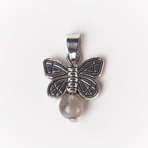 Кулон лабрадор Мадагаскар бабочка (биж. сплав) 2 см