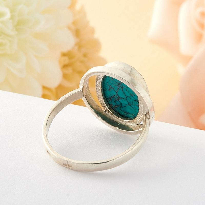 Кольцо бирюза Тибет (серебро) размер 16