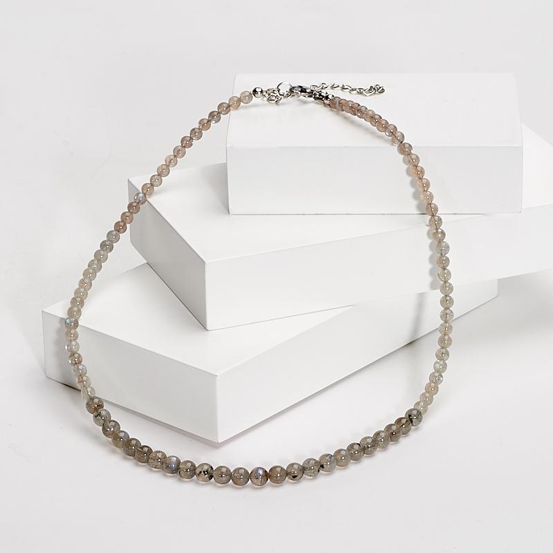 Бусы лабрадор 46-53 см (хир. сталь) бусы цитрин 5 мм 46 53 см хир сталь