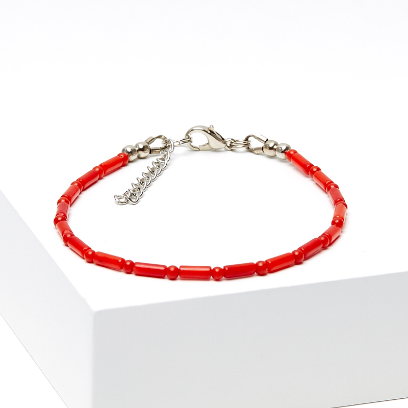 Браслет коралл красный 17-20 см (биж. сплав) браслет коралл красный 17 см